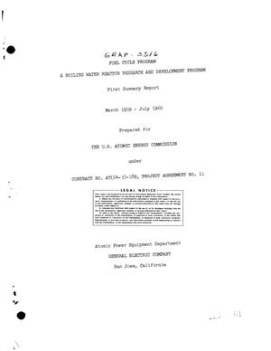 Primary view of object titled 'FUEL CYCLE PROGRAM, A BOILING WATER REACTOR RESEARCH DEVELOPMENT PROGRAM. First Summary Report for March 1959-July 1960'.