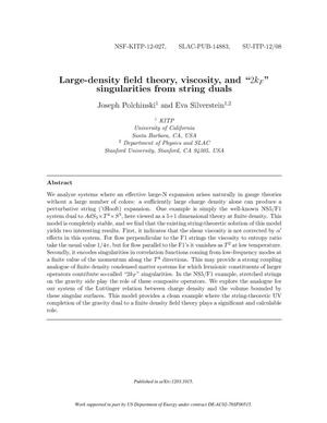 Primary view of object titled 'Large-density field theory, viscosity, and '$2k_F$' singularities from string duals'.