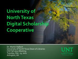 Primary view of object titled 'University of North Texas Digital Scholarship Cooperative'.