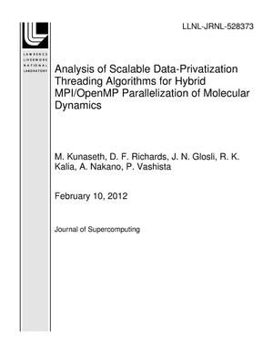Primary view of object titled 'Analysis of Scalable Data-Privatization Threading Algorithms for Hybrid MPI/OpenMP Parallelization of Molecular Dynamics'.