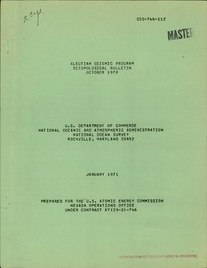 Primary view of object titled 'ALEUTIAN SEISMIC PROGRAM, SEISMOLOGICAL BULLETIN, OCTOBER 1970.'.