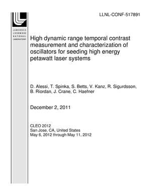 Primary view of object titled 'High dynamic range temporal contrast measurement and characterization of oscillators for seeding high energy petawatt laser systems'.