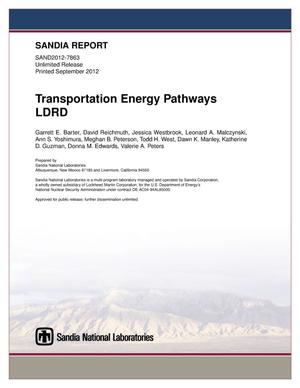 Primary view of object titled 'Transportation Energy Pathways LDRD.'.