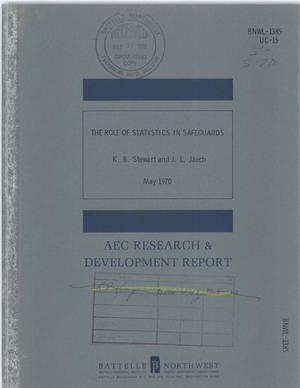 Primary view of object titled 'Role of Statistics in Safeguards.'.