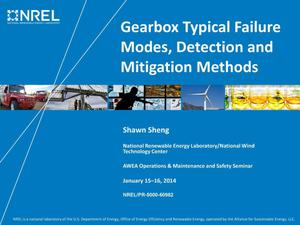 Primary view of object titled 'Gearbox Typical Failure Modes, Detection, and Mitigation Methods (Presentation)'.