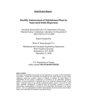 Primary view of object titled 'Ductility Enhancement of Molybdenum Phase by Nano-sized Oxide Dispersions'.