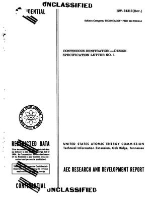 Primary view of object titled 'Continuous Denitration--Design Specification Letter No. 1'.