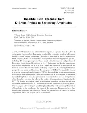Primary view of object titled 'Bipartite Field Theories: from D-Brane probes to Scattering Amplitudes'.