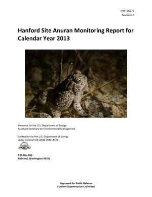 Primary view of object titled 'Hanford Site Anuran Monitoring Report for Calendar Year 2013'.