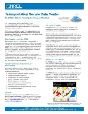 Primary view of object titled 'Transportation Secure Data Center: Real-World Data for Planning, Modeling, and Analysis (Fact Sheet)'.
