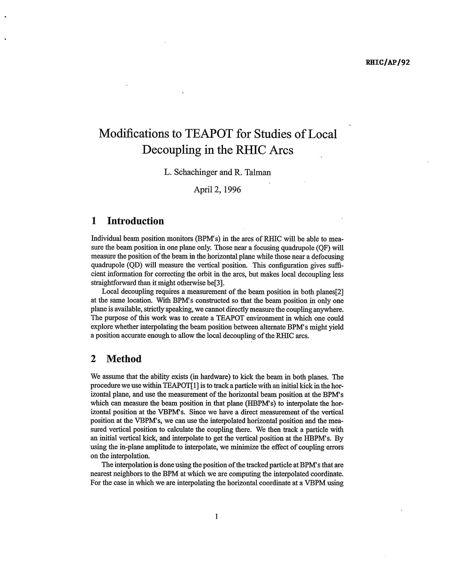 Modifications to TEAPOT for Studies of Local Decoupling in the RHIC Arcs                                                                                                      [Sequence #]: 1 of 5