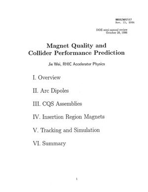 Primary view of object titled 'Magnet Quality and Collider Performance Prediction'.