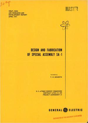 Primary view of object titled 'DESIGN AND FABRICATION OF SPECIAL ASSEMBLY SA-1.'.