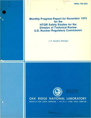 Primary view of object titled 'Monthly progress report for November 1975 for the HTGR safety studies for the Division of Technical Review, U.S. Nuclear Regulatory Commission'.