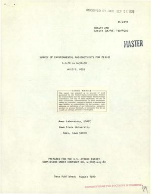 Primary view of object titled 'Survey of Environmental Radioactivity for Period January 1--June 30, 1970.'.