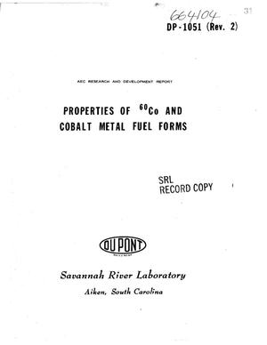 Primary view of object titled 'PROPERTIES OF $sup 60$Co AND COBALT METAL FUEL FORMS.'.