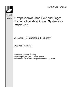 Primary view of object titled 'Comparison of Hand-Held and Pager Radionuclide Identification Systems for Inspections'.