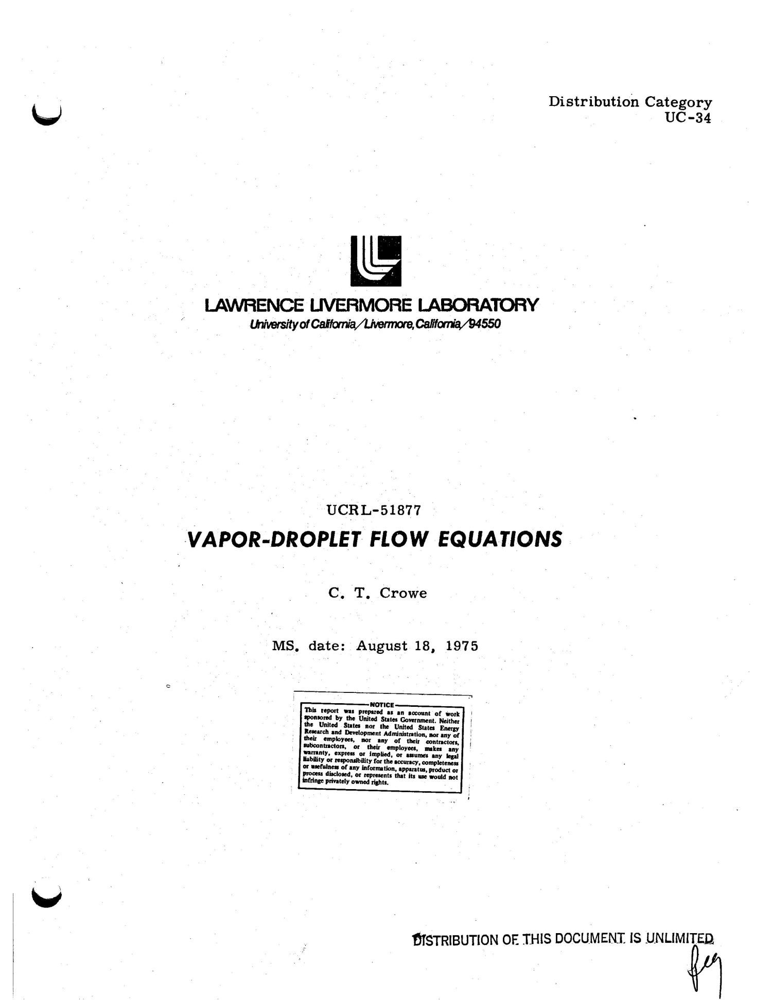 Vapor-droplet flow equations                                                                                                      [Sequence #]: 4 of 35