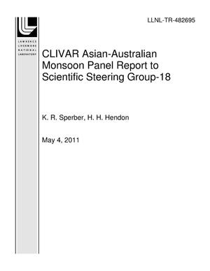 Primary view of object titled 'CLIVAR Asian-Australian Monsoon Panel Report to Scientific Steering Group-18'.