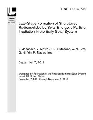 Primary view of object titled 'Late-Stage Formation of Short-Lived Radionuclides by Solar Energetic Particle Irradiation in the Early Solar System'.
