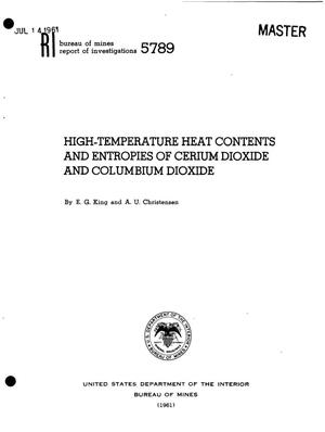 Primary view of object titled 'High-Temperature Heat Contents and Entropies of Cerium Dioxide and Columbium Dioxide'.
