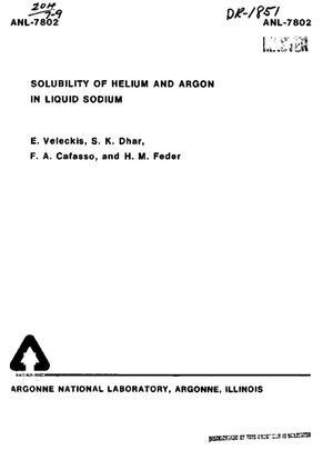Primary view of object titled 'SOLUBILITY OF HELIUM AND ARGON IN LIQUID SODIUM.'.