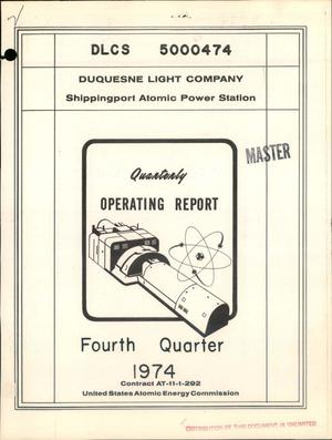 Primary view of object titled 'Quarterly operating report. Fourth quarter 1974'.