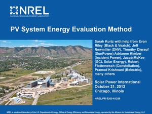 Primary view of object titled 'PV System Energy Evaluation Method (Presentation)'.