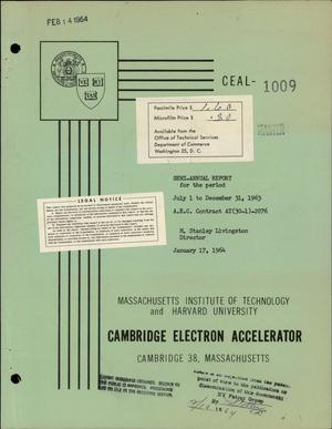 Primary view of object titled 'SEMI-ANNUAL REPORT ON ELECTRON ACCELERATOR , JULY 1-DECEMBER 31, 1963'.
