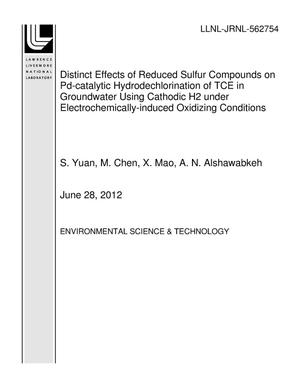 Primary view of object titled 'Distinct Effects of Reduced Sulfur Compounds on Pd-catalytic Hydrodechlorination of TCE in Groundwater Using Cathodic H2 under Electrochemically-induced Oxidizing Conditions'.