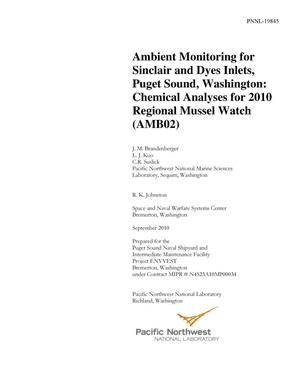 Primary view of object titled 'Ambient Monitoring for Sinclair and Dyes Inlets, Puget Sound, Washington: Chemical Analyses for 2010 Regional Mussel Watch (AMB02)'.