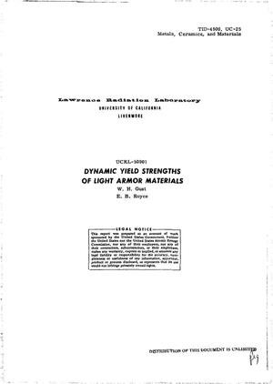Primary view of object titled 'DYNAMIC YIELD STRENGTHS OF LIGHT ARMOR MATERIALS.'.