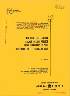Primary view of object titled 'FAST FLUX TEST FACILITY BACKUP DESIGN PROJECT THIRD QUARTERLY REPORT, DECEMBER 1967--FEBRUARY 1968.'.
