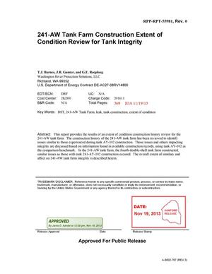 Primary view of object titled '241-AW Tank Farm Construction Extent of Condition Review for Tank Integrity'.