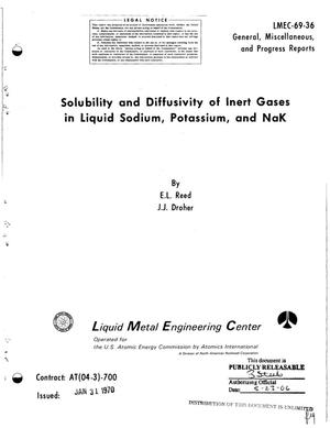 Primary view of object titled 'Solubility and Diffusivity of Inert Gases in Liquid Sodium, Potassium, and NaK.'.