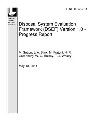 Primary view of object titled 'Disposal System Evaluation Framework (DSEF) Version 1.0 - Progress Report'.