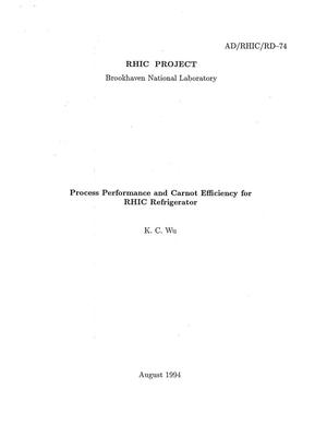 Primary view of object titled 'Process Performance and Carnot Efficiency for RHIC Refrigerator'.