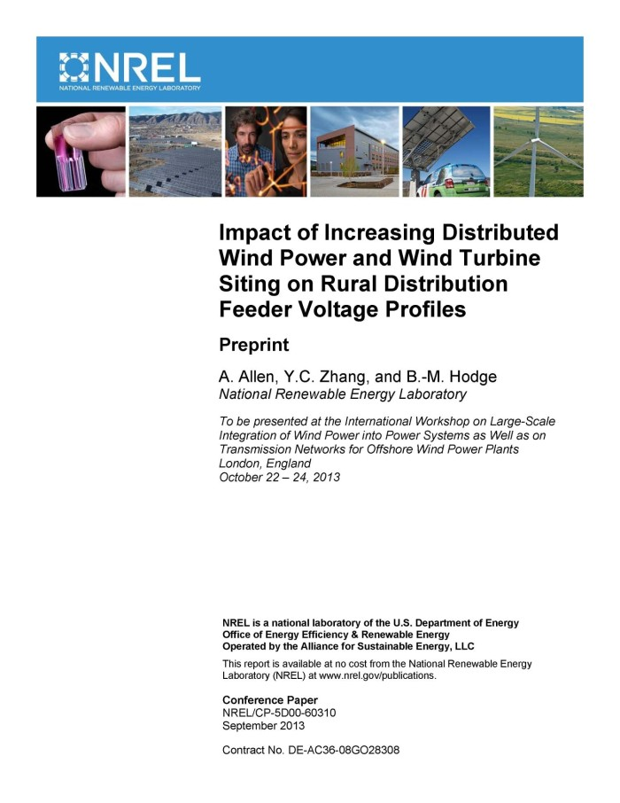 Impact of Increasing Distributed Wind Power and Wind Turbine Siting