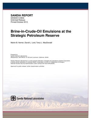 Primary view of object titled 'Brine-in-crude-oil emulsions at the Strategic Petroleum Reserve.'.