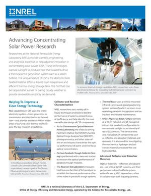 Primary view of object titled 'Advancing Concentrating Solar Power Research (Fact Sheet)'.