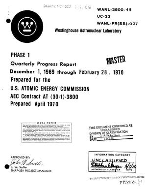 Primary view of object titled 'PHASE I, QUARTERLY PROGRESS REPORT, DECEMBER 1, 1969--FEBRUARY 28, 1970.'.