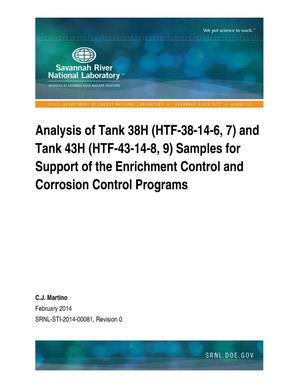 Primary view of object titled 'Analysis Of Tank 38H (HTF-38-14-6, 7) And Tank 43H (HTF-43-14-8, 9) Samples For Support Of The Enrichment Control And Corrosion Control Programs'.