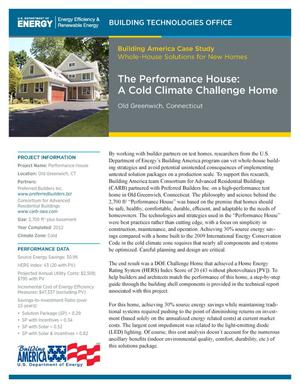 Primary view of object titled 'Performance House: A Cold Climate Challenge Home, Old Greenwich, Connecticut (Fact Sheet)'.