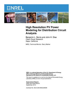 Primary view of object titled 'High Resolution PV Power Modeling for Distribution Circuit Analysis'.