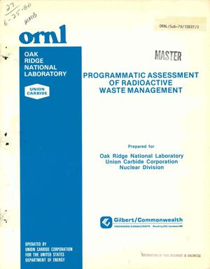 Primary view of object titled 'PROGRAMMATIC ASSESSMENT OF RADIOACTIVE WASTE MANAGEMENT NUCLEAR FUEL AND WASTE PROGRAMS. Operational Planning and Development (Activity No. AR OS 10 05 K; ONL-WN06)'.