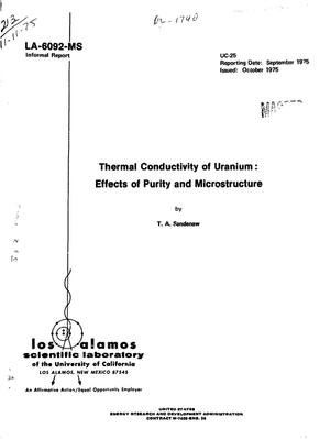 Primary view of object titled 'Thermal conductivity of uranium: effects of purity and microstructure'.