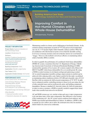 Primary view of object titled 'Improving Comfort in Hot-Humid Climates with a Whole-House Dehumidifier, Windermere, Florida (Fact Sheet)'.