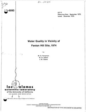 Primary view of object titled 'Water quality in vicinity of Fenton Hill Site, 1974'.
