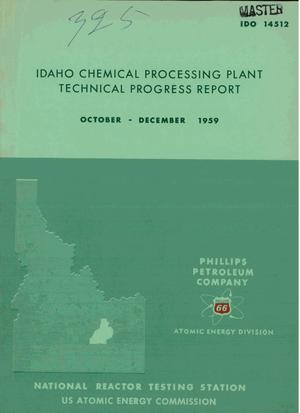 Primary view of object titled 'IDAHO CHEMICAL PROCESSING PLANT TECHNICAL PROGRESS REPORT, OCTOBER-DECEMBER 1959'.