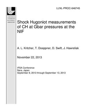 Primary view of object titled 'Shock Hugoniot measurements of CH at Gbar pressures at the NIF'.